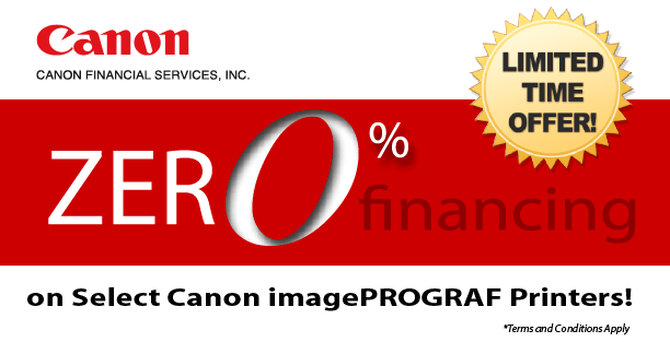 Canon imagePrograf 0% financing